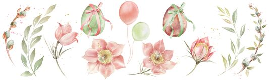 Watercolor illustration for Easter. Multi-colored eggs tied with a ribbon, pastel colored flowers, leaves and branches