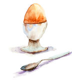Watercolor illustration of egg Stock Photo