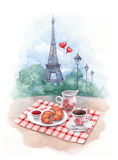 Illustration of eiffel tower and trad Stock Images