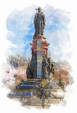 Watercolor illustration of Ekaterina the Great sculpture Royalty Free Stock Image