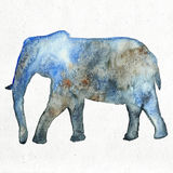 Watercolor illustration of an elephant silhouette Royalty Free Stock Image