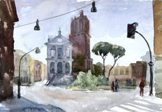 Watercolor illustration. European vew. Street in Rome. Royalty Free Stock Image