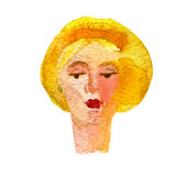 Watercolor illustration of a face image, a portrait of a blonde woman. Stock Photos