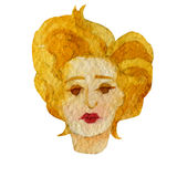 Watercolor illustration of a face image, a portrait of a blonde woman. Stock Photo