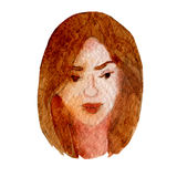 Watercolor illustration of a face image, a portrait of brown-haired woman. Watercolor illustration of a face image, a portrait of brown-haired woman Royalty Free Stock Photo