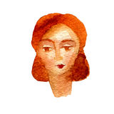 Watercolor illustration of a face image, a portrait of brown-haired woman. Watercolor illustration of a face image, a portrait of brown-haired woman Stock Photos