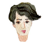 Watercolor illustration of a face image, a portrait of a brunette woman. Watercolor illustration of a face image, a portrait of a brunette woman Stock Photo