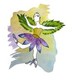 Watercolor illustration of a faceless ballerina-girl in a tutu-flower and with wings-leaves on the background of a formless spot