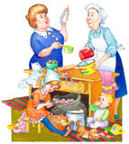 Watercolor illustration. Family in kitchen preparing meal Royalty Free Stock Image