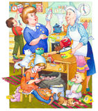 Watercolor illustration. Family in kitchen preparing meal Stock Images