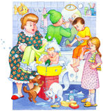 Watercolor illustration. Family washes in the bathroom Stock Photography