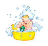 Watercolor illustration. Family washes in bathroom Stock Photography