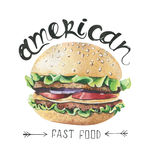 Watercolor illustration with fast food . Burger Poster Royalty Free Stock Images