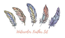 Watercolor illustration feather set. Boho style. illustration is Royalty Free Stock Images