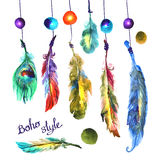 Watercolor illustration feathers Royalty Free Stock Photo