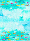 Watercolor illustration of fishes Royalty Free Stock Photos