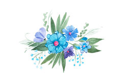 Watercolor illustration of floral composition made of blue wild flowers and leaves hand-drawn Royalty Free Stock Photo