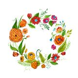 Watercolor illustration of floral diadem made of orange, red and pink flowers Stock Photography
