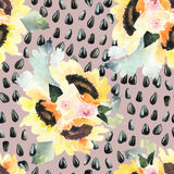 Watercolor illustration of floral seamless pattern. Royalty Free Stock Photography