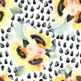 Watercolor illustration of floral seamless pattern. Royalty Free Stock Photos