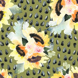 Watercolor illustration of floral seamless pattern Royalty Free Stock Photography