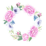 Watercolor illustration. Floral wreath with leaves, peonies and vector illustration