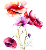 Watercolor illustration with flowers Stock Images