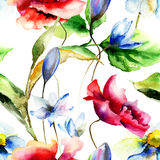Watercolor illustration with flowers Royalty Free Stock Image