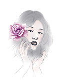 Watercolor illustration flowers and Portrait of beautiful woman in simple background Royalty Free Stock Image