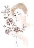 Watercolor illustration flowers and Portrait of beautiful woman in simple background Royalty Free Stock Photography