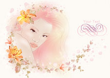 Watercolor illustration flowers and Portrait of beautiful woman in simple background Stock Photography