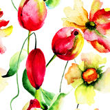 Watercolor illustration of flowers Stock Photos