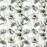 Seamless pattern. Watercolor illustration with flowers, seamless pattern Stock Photos