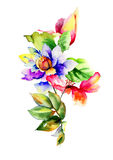 Watercolor illustration with flowers Royalty Free Stock Photography