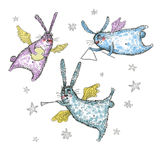 Watercolor illustration, Flying and singing rabbits. Rabbits are flying and singing with musical instruments, drawing illustration Stock Images