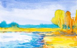 Watercolor illustration of a forest landscape on the banks of the lake. Complete peace and quiet royalty free illustration