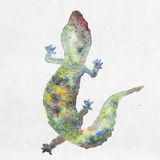 Watercolor illustration of a gecko silhouette Royalty Free Stock Images