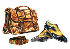 Watercolor Illustration Gentlemen`s accessories Stock Images