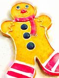 Watercolor illustration of a ginger bread man cookie Stock Photos