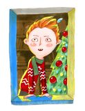 Watercolor illustration. The ginger white boy in red sweater loo Royalty Free Stock Photography