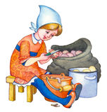 Watercolor illustration. Girl cleans potatoes Stock Images