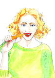 Watercolor Illustration «Girl eating a carrot». Hand painted watercolor illustration of girl eating a carrot Stock Photo