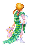 Watercolor illustration. Girl go to bed Royalty Free Stock Images