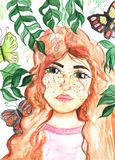 Watercolor illustration of girl. Hand drawing. Watercolor illustration of beautiful girl, green leaves and butterfly. Hand drawing on paper stock illustration