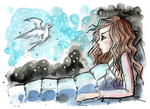 Watercolor illustration of girl in her bed with magical swallow beside Stock Image