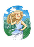 Watercolor illustration. The girl with long hair is standing out Royalty Free Stock Image