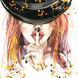 Watercolor illustration  Girl witches and Halloween party Stock Photography