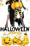 Watercolor illustration  Girl witches and Halloween party Royalty Free Stock Image