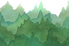 Watercolor illustration. Watercolor gradient forest on a white background vector illustration