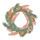 Graphic wreath of spruce branch and cone Stock Photos